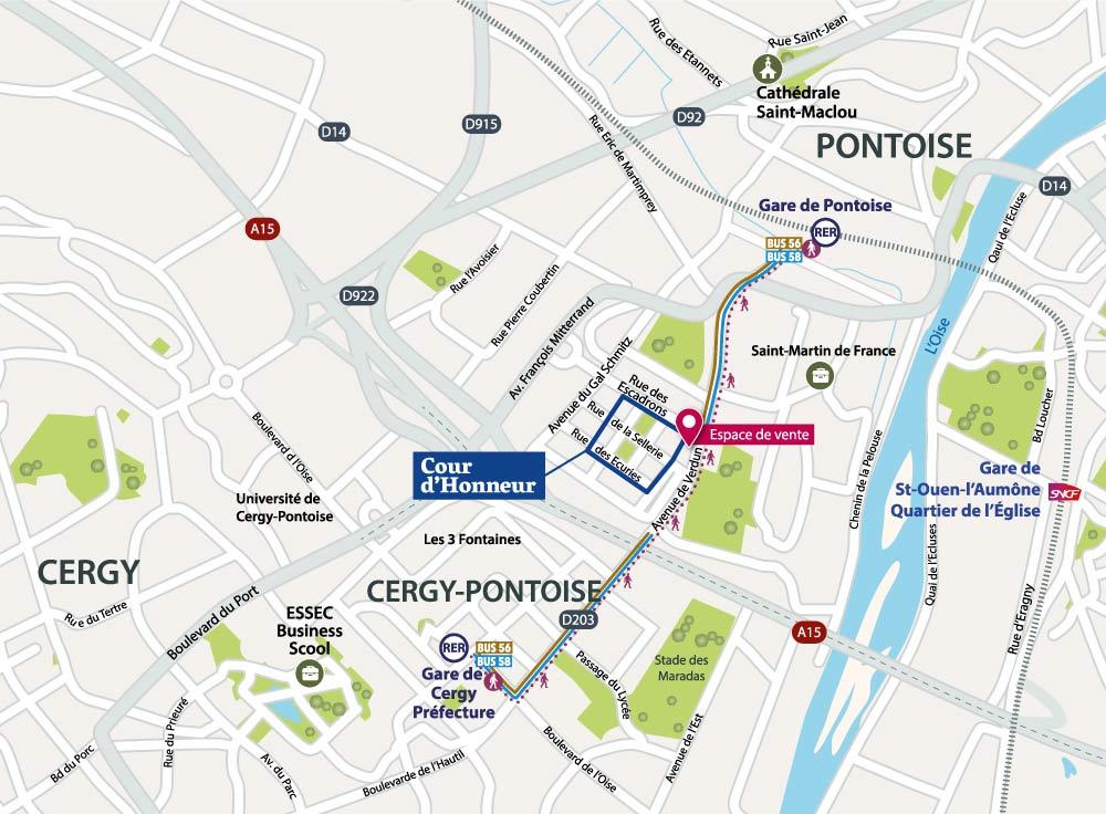 Cours d'Honneur - Pontoise - Plan d'accès